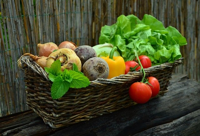 basket of colourful raw vegetables