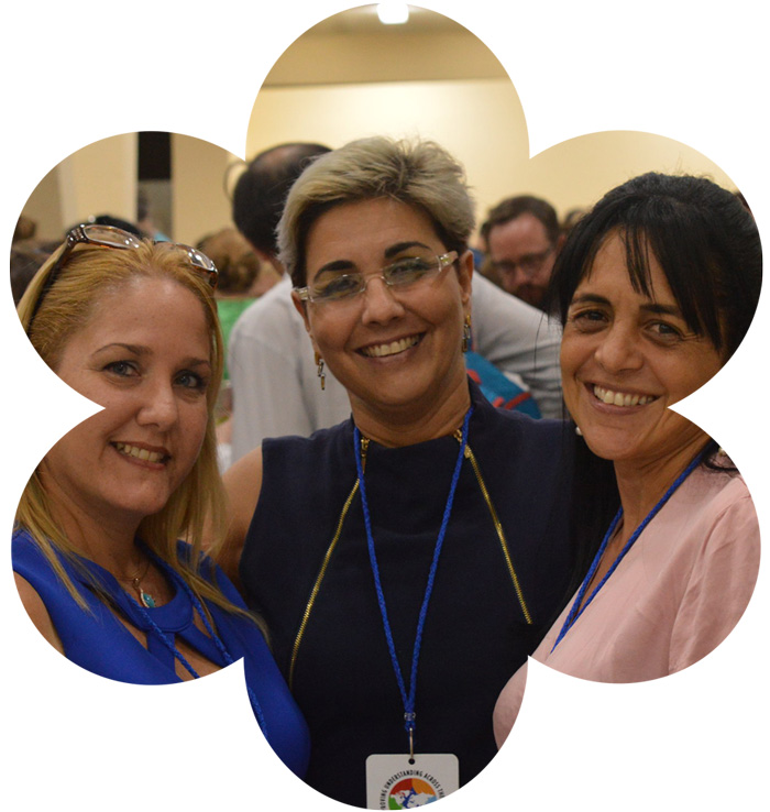 three ladies at an IPWSO conference